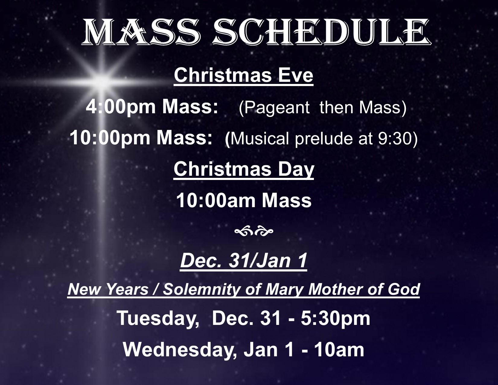 Christmas Mass Schedule-FB